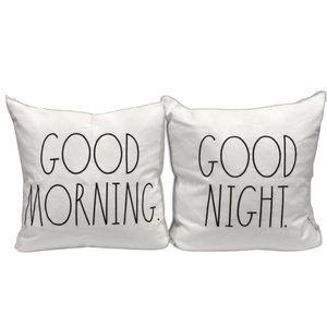 ⭐️FIRM PRICE⭐️Rae Dunn Large Cushions - set of 2- GOOD MORNING GOOD NIGHT